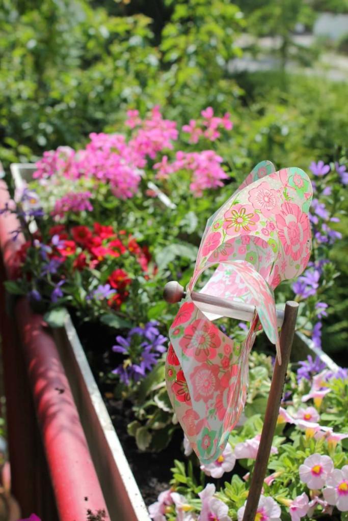 Blumenkasten Sommer Windmühle