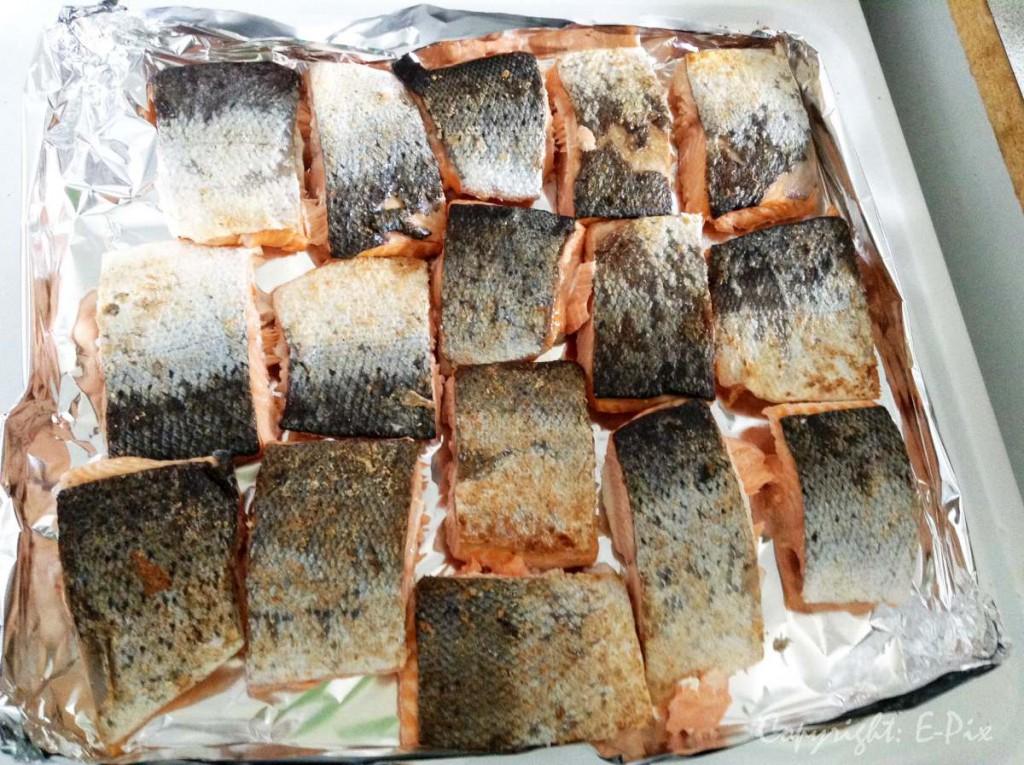 Mittagessen - lecker Lachs gebraten.