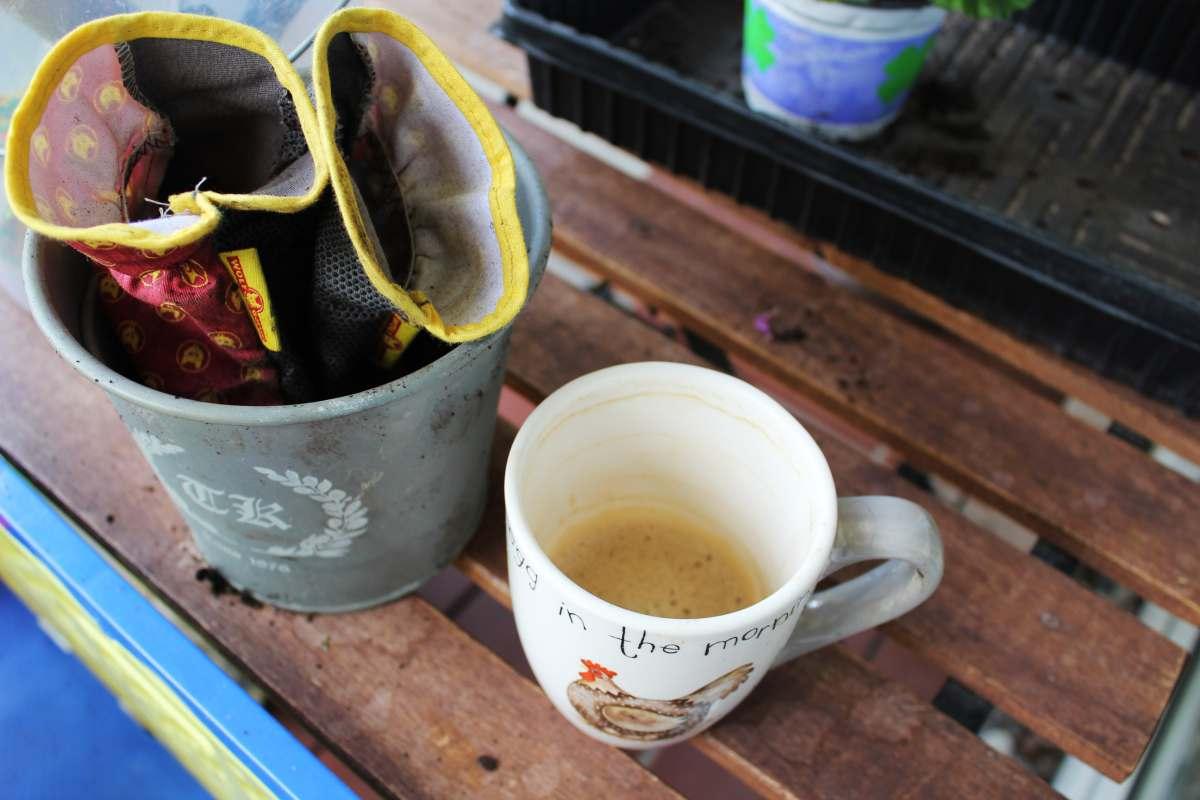 Handschuhe, Kaffee in rauhen Mengen, Erde...das kann nur eins bedeuten: Pflanzzeit auf der Ersten Etage links!