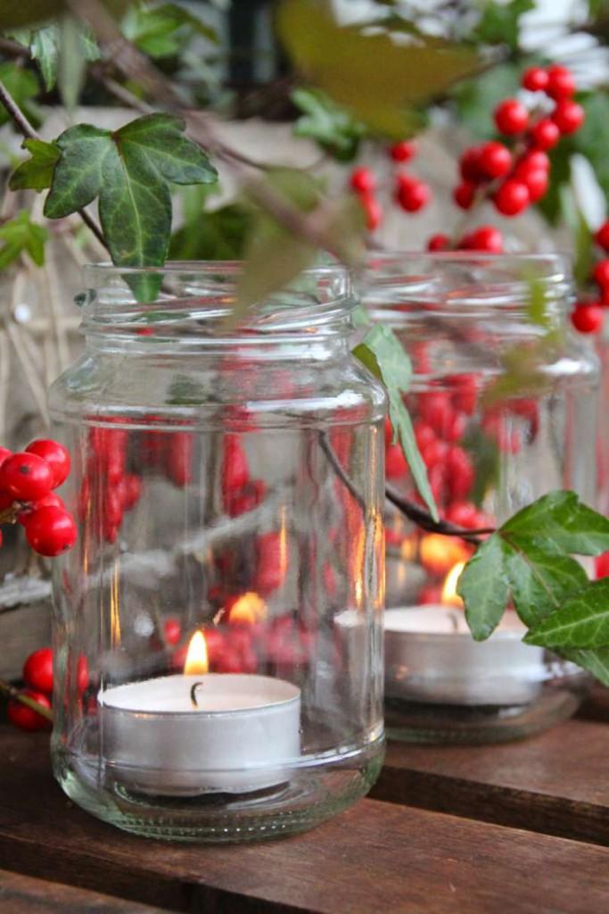 Adventskranz Marmeladengläser