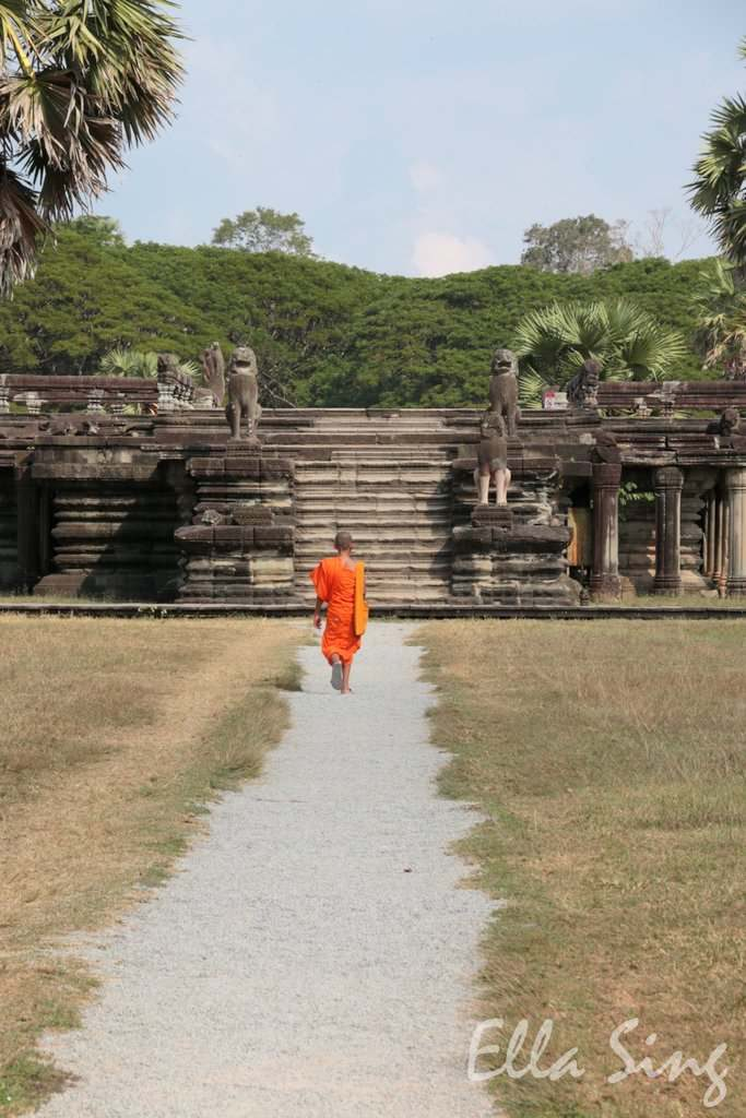 Mönch in Angkor Wat